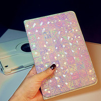 New Handmade Crystal Bling Stand Leather Cover for ipad Pro,case  for ipad Air 1 2, for ipad  mini