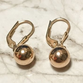 NEW 14K Gold Layered on Sterling Silver Dangling Leverback Ball Earrings