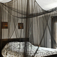 Bed Netting Mosquito Net Black Four Corner Canopy Queen King Bedding New
