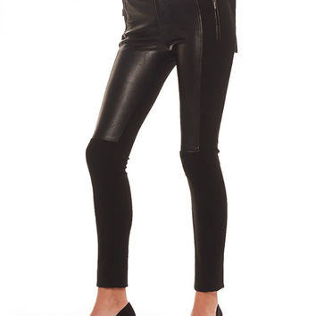 VEGAN LEATHER MOTO PANTS