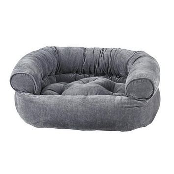 MicroVelvet Double Donut Bolstered Dog Bed — Pumice