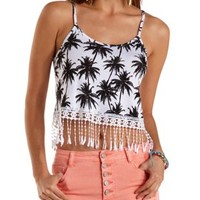 Printed Fringe Crop Top by Charlotte Russe
