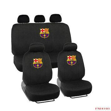 Licensed Official New 11pcs Set Barcelona FCB Football Soccer Front Rear Car Full Seat Covers