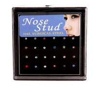 24pcs Piercing Nose Ring Fashion Body Jewelry Nose Stud Stainless Surgical Steel Nose Piercings Crystal Stud drop shipping