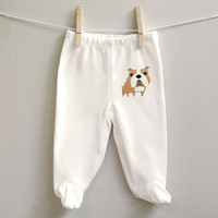 Bulldog cotton baby pants for baby girl or baby boy