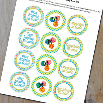 Retirement Party Cupcake Kit - Cupcake Toppers, Stickers, or Party Circles + Wrappers - Retirement Party Printables