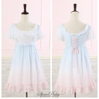 Harajuku Gradual Color Unicorn Printing Dress Free Shipping SP140493