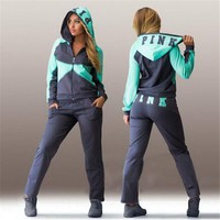 2017 New Jogging Suits For Women Letter vs Pink Hoodies