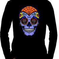 "Blue Sugar Skull Calavera Men's Long Sleeve T-Shirt ""Dia De Los Muertos"" Day of the Dead"