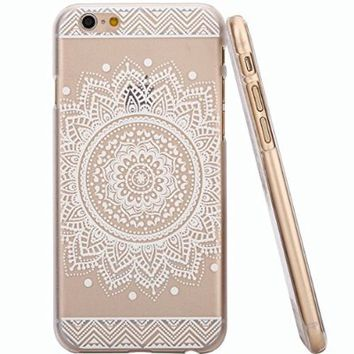 iPhone 5 Case, LUOLNH Henna Full Mandala Floral Dream Catcher Hard Plastic Clear Case Silicone Skin Cover for Iphone 5/5S
