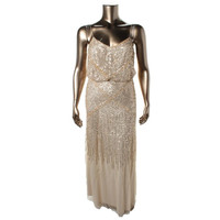 Adrianna Papell Womens Sequined Blouson Evening Dress
