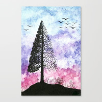 Silhouette of pine tree Canvas Print by xee_fay
