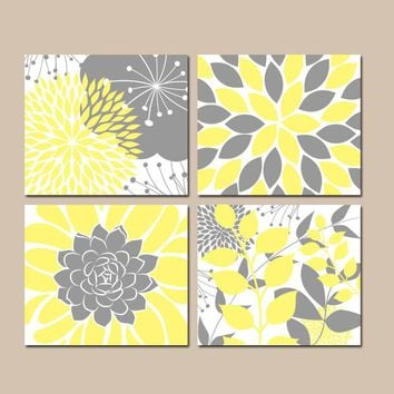 YELLOW Gray Wall Art, CANVAS or Prints, Floral Bedroom Pictures, Yellow Gray Bathroom Decor, Succulent KITCHEN Wall Art, Set of 4 Home Decor