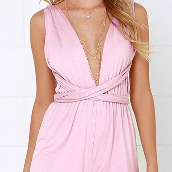 Pink Open Back V-Neck Convertible Romper