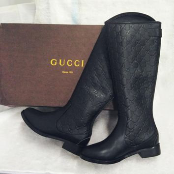 GUCCI New fashion more letter leather high quality women long shoes boots Black
