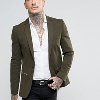 Religion Super Skinny Suit Jacket with Zip Detail