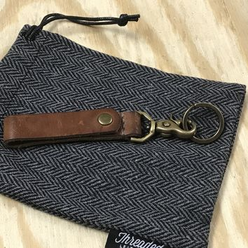 Leather Key Fob | Horween English Tan Dublin with Antique Brass Hardware