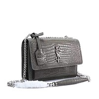 YSL SAINT LAURENT WOMEN'S LEATHER SUNSET INCLINED CHAIN SHOULDER BAG
