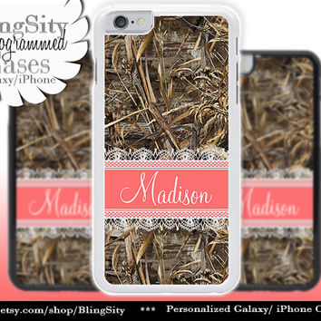 Camo Coral Lace Monogram iPhone 5C 6 Plus Case iPhone 5s 4 case Ipod Realtree Custom Name Personalized Country Inspired Girl