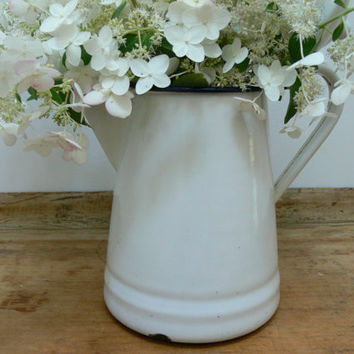 White Vintage Enamelware Coffeepot by EitherOrFinds on Etsy