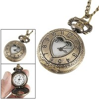 SODIAL(R) Cut Out Heart Hunter Case Necklace Pocket Watch Bronze Tone For Ladies