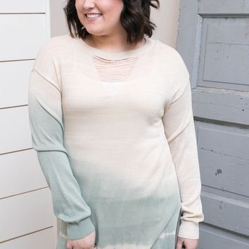 Natural/Sage Ombre Sweater