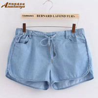 Summer Women Jeans Shorts Loose Cotton Short Pants American AA Casual female Slim Waisted Denim Shorts P088