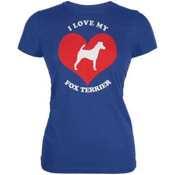 Valentines I Love My Fox Terrier Royal Juniors Soft T-Shirt