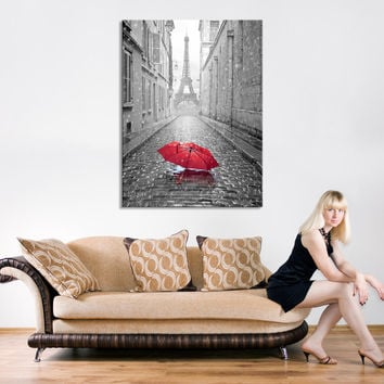 Canvas Print Red Umbrella on Paris Street - Paris France Canvas Art - Red Umbrella in Paris Road Canvas Print - Eiffel Tower Canvas Print