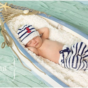 Newborn Infant Sailor Navy Stripe Anchor Hat Pants Baby Handmade Knit Crochet Baby photo props Outfit Costume = 5709755457