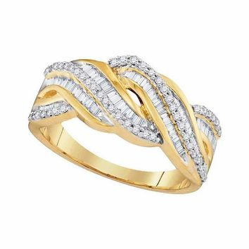 10kt Yellow Gold Women's Round Baguette Diamond Twist Band Ring 1-2 Cttw - FREE Shipping (US/CAN)