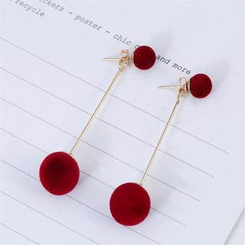 M MISM 1 Pair Korean Ball Drop Earring For Women Girls Party Date 2018 Trendy Simple Long Tassel Earrings Jewelry Accessories