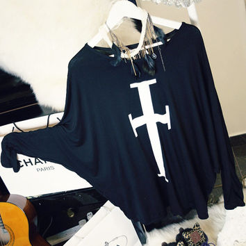 ROCKER CHIC Kpop G Dragon Style Bigbang White Cross Oversized  Black Long Top / Dress Batwing