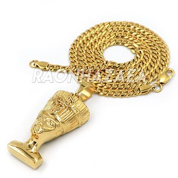 Iced Out Hip Hop Stainless Steel Gold Egyptian Queen Nefertiti Pendant W Cuban Chain