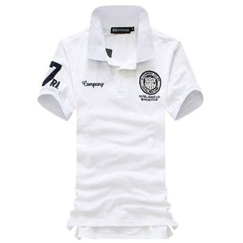 Men's Designer Short Sleeve Embroidered Plus Size Sport Polo Shirt
