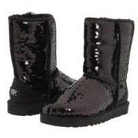 Ugg Australia Women's Classic Short Sparkle Boot BLACK 7