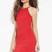Asymmetrical-Hem Sheath Dress