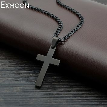 Black Cross Titanium Stainless Steel Chain Link Necklaces