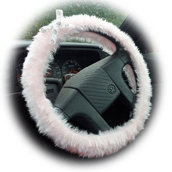Baby Pink steering wheel cover with pink camper van ribbon bow faux furry fur fluffy fuzzy car