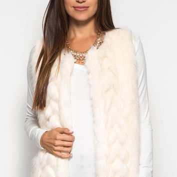 Ivory Knit and Faux Fur Vest