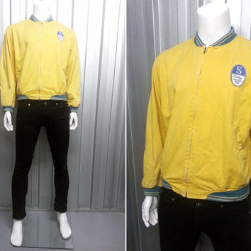 Vintage 80's Sisley Champion Sport 1968 Yellow Harrington Jacket Hipster Jacket Mod Jacket Retro Sportswear Mesh Lining Cotton Jacket