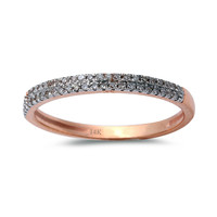 0.15ct Round Pavé Diamonds in 14K Rose Gold Half Eternity Band Ring