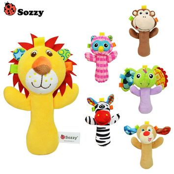 1pcs Sozzy Cute Cartoon Animal Musical Baby Rattle Plush Infant Baby Toys Baby Rattle Cute Toy For Newborn Baby Infant