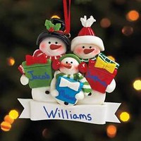 Personalized Family Of 3 Snowman Christmas Tree Ornament W/Gift Box Home Decor