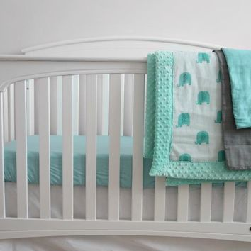Personalized Minky Elephant Baby Crib Bedding Set for BOYS  - Made in USA