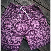 Pink Unisex Men & Women Summer Shorts Elephant Print Boho Beach Hippie Hipster Clothing Aztec Ethnic Bohemian Ikat Boxers Sleepwear Baggy