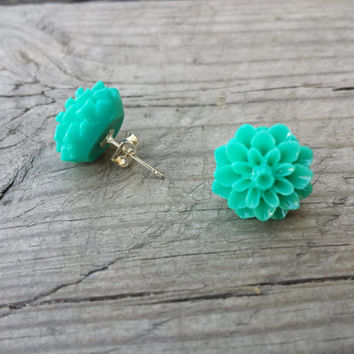 Green Flower Earrings, Seafoam Earrings, Resin Flower Earrings Studs, Dahlia Post Earrings, Nickel Free Lead Free Earrings