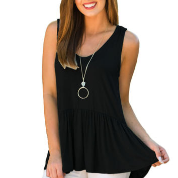 Cute Pleated Hemline Black Tank Top