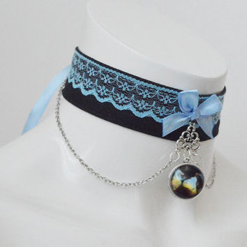 Kitten play collar - Stormclouds - black and pastel blue - fairy kei kawaii cute neko lolita petplay choker pet necklace with chains