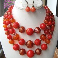 3 strand red orange beaded necklace and earrings set vintage
